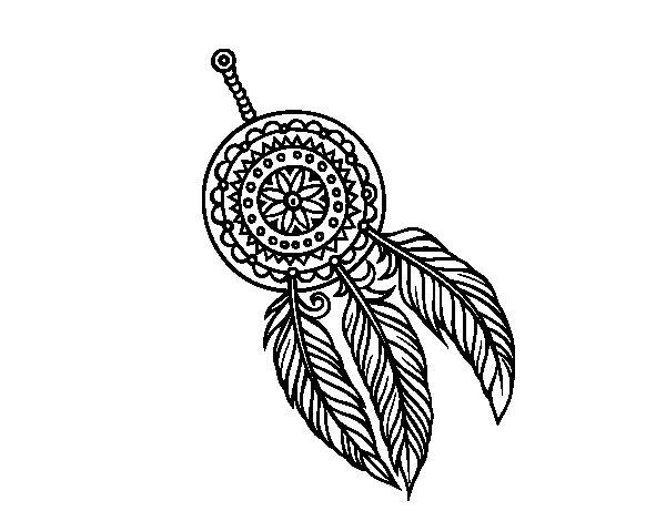 Disegno di acchiappasogni indiano da colorare for Acchiappasogni disegno