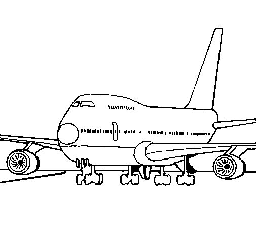 Aereo Di Linea Affiancato Da Caccia : Disegno di aereo in pista da colorare acolore