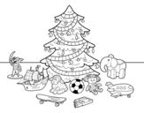 Disegno di Albero di Natale con giocattoli da colorare