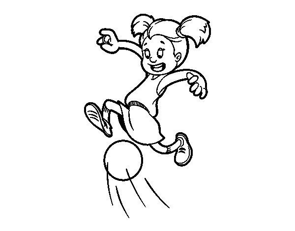 Disegno di Bambina che gioca a calcio da Colorare