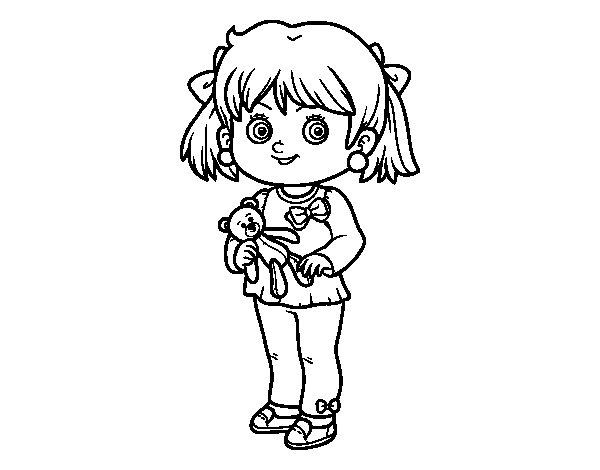 Peluche Da Colorare: Disegno Di Bambina Con Orsacchiotto Da Colorare