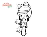 Disegno di Bambina Kawaii con il gelato da colorare