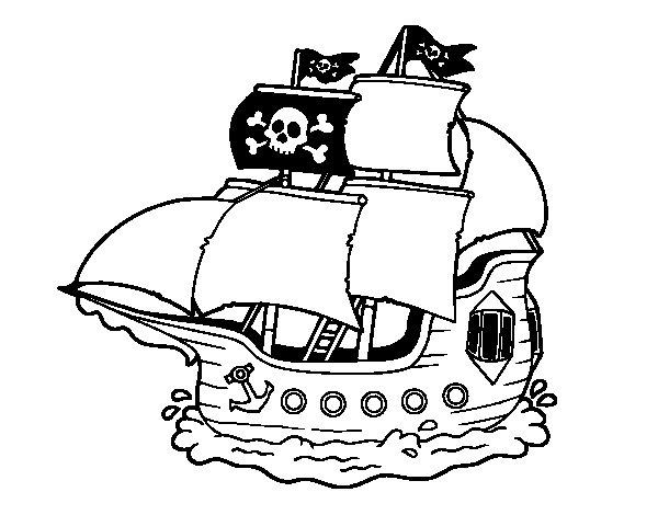 Disegno di Barca Pirata da Colorare