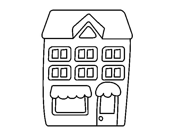 Disegno di casa con pavimenti da colorare for Casa disegno