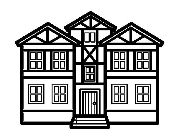 Disegno di case da colorare for Disegni di case di tronchi