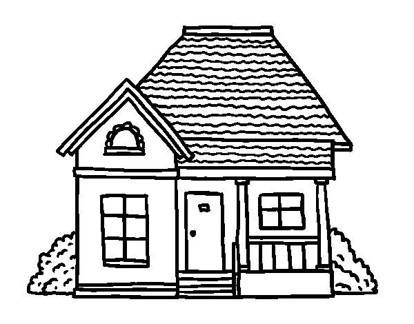 Disegno di casetta di campo da colorare for Disegni casa cottage