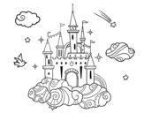 Disegno di Castello fra le nuvole da colorare