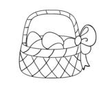 Disegno di Cestino con uovo di Pasqua da colorare