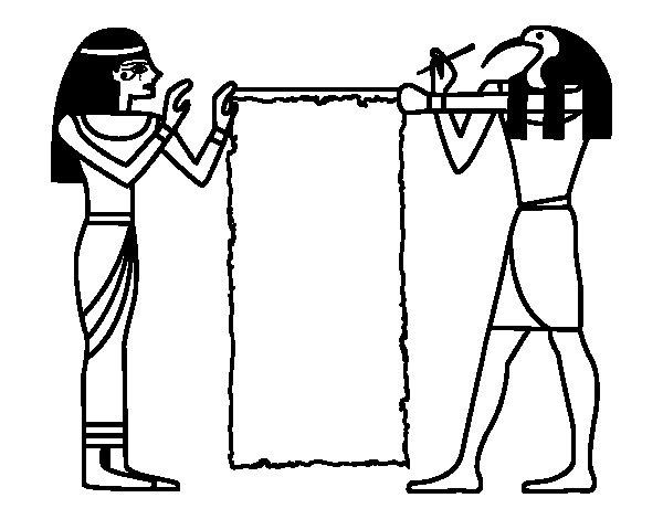 Disegno di Cleopatra e Thot da Colorare
