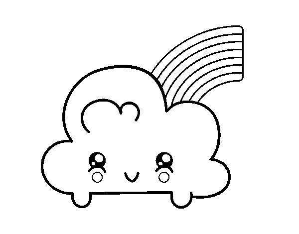 Disegno di cloud con arcobaleno kawaii da colorare - Arcobaleno da colorare stampabili ...