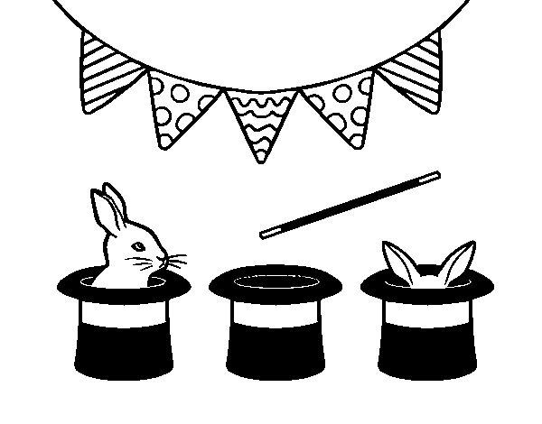 Disegno di Conigli e cappelli da Colorare