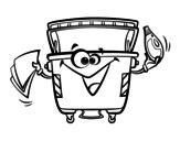 Disegno di contenitori di rifiuti da colorare