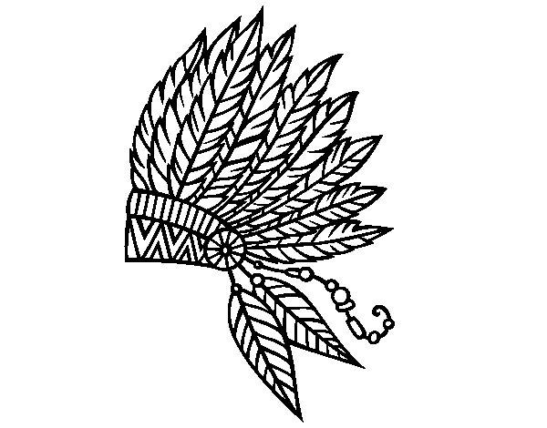 Disegno di Corona di piume indiana da Colorare