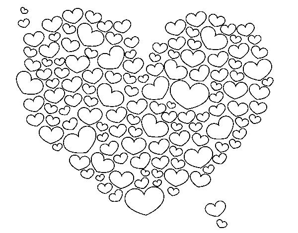 Disegno di cuore di cuori da colorare for Cuori grandi da stampare