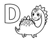Disegno di D di Dinosauro da colorare