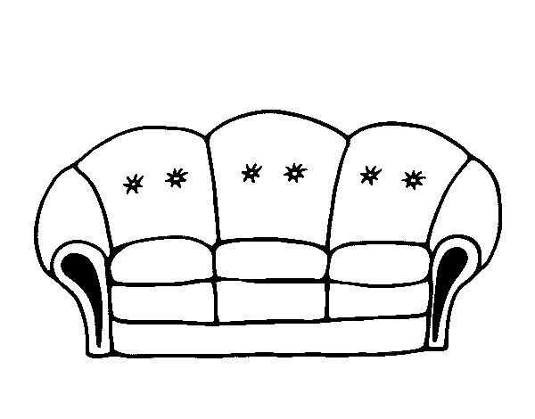 disegno di divano da colorare