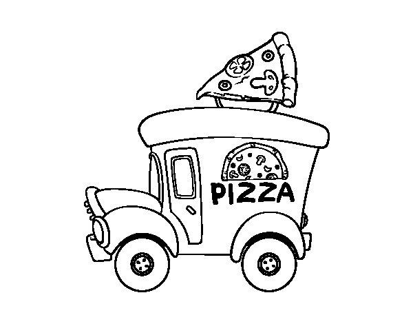 Disegno di Food truck di pizza da Colorare