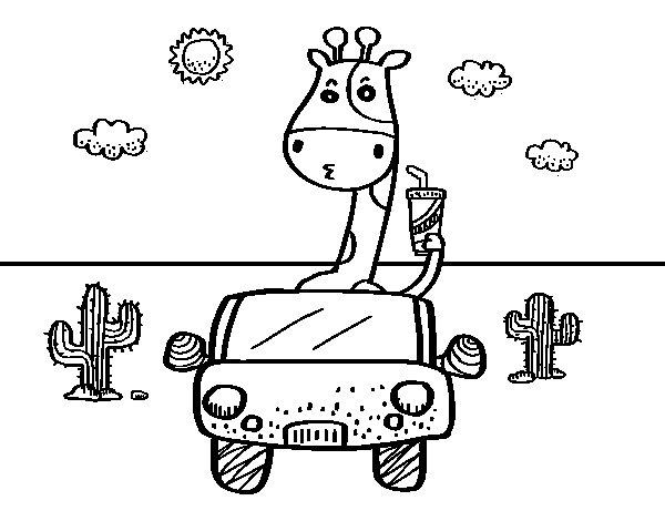 Disegno di Giraffa guida da Colorare