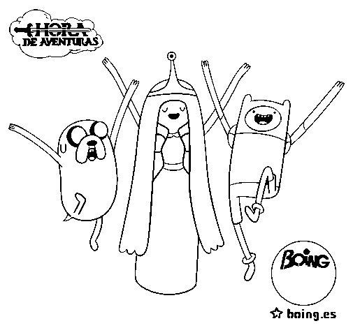 Disegno di Jake, principessa Bubblegum e Finn da Colorare