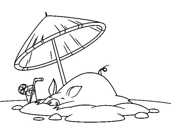 Disegno di maialino in spiaggia da colorare for Disegni da camera da spiaggia