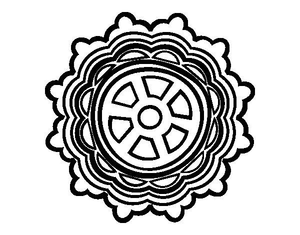 Disegno di Mandala con forma di ruota da Colorare