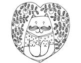 Disegno di Padre gatto e figli da colorare