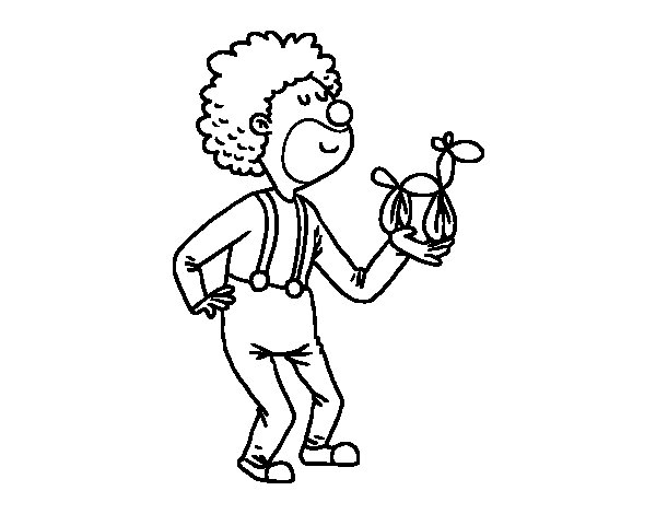 Disegno di  Pagliaccio con un palloncino da Colorare