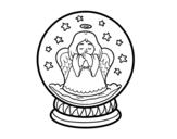 Disegno di Palla di neve con angelo da colorare