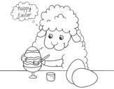 Dibujo de Piccole pecore colorare le uova di Pasqua