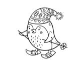 Disegno di Piccolo uccello che scia da colorare