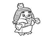 Disegno di Pinguino con caramello da colorare