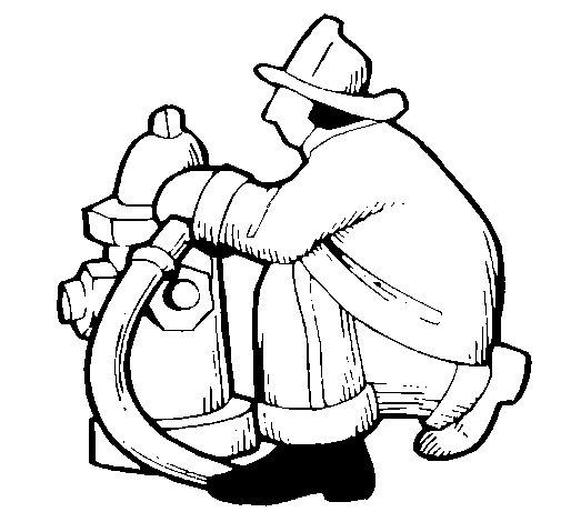 Disegno di Pompiere con bocca da incendio da Colorare