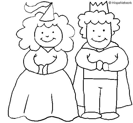 Disegno di Principessa e re  da Colorare