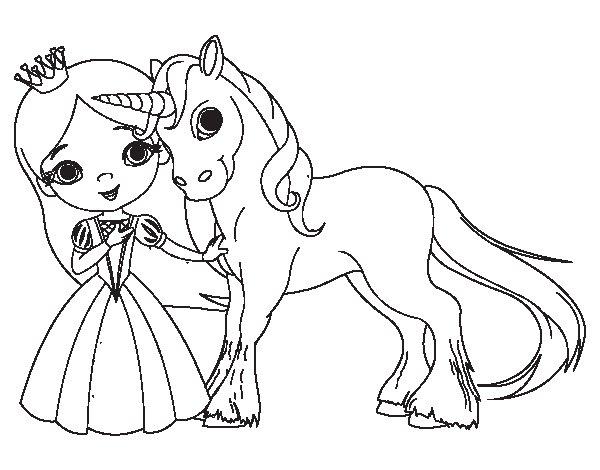 Disegno di principessa e unicorno da colorare - Libero unicorno pagine da colorare ...