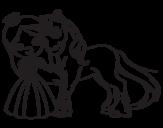 Disegno di Principessa e unicorno da colorare