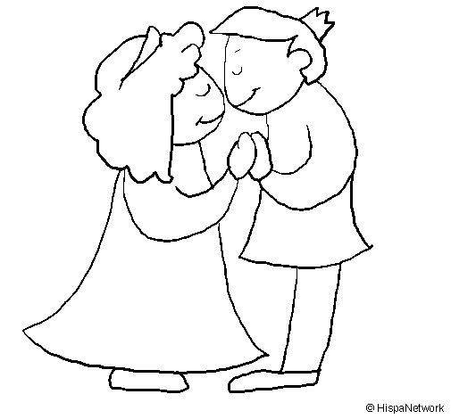 Disegno di Principi che si baciano  da Colorare