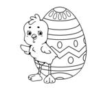 Disegno di Pulcino simpatico con uovo di Pasqua da colorare