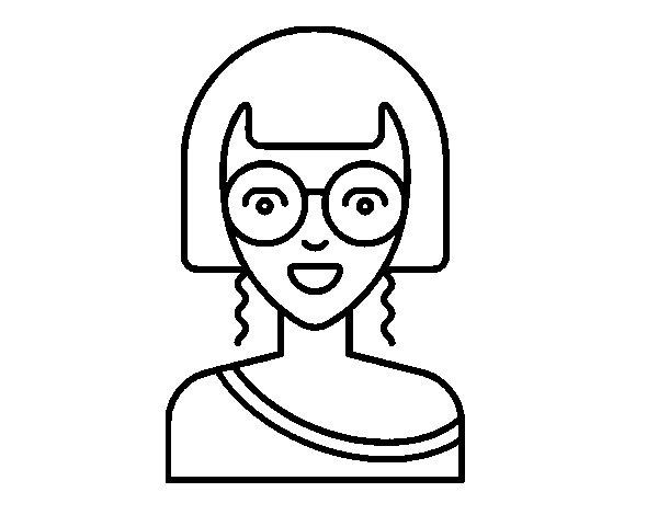 Disegno di Ragazza con gli occhiali rotondi da Colorare