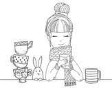 Disegno di Ragazza con la sciarpa e tazza di tè da colorare