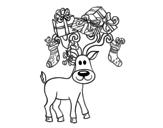 Disegno di Renna con i regali di Natale da colorare