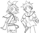 Disegno di Rin y Len Kagamine Vocaloid da colorare