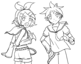 Dibujo de Rin y Len Kagamine Vocaloid