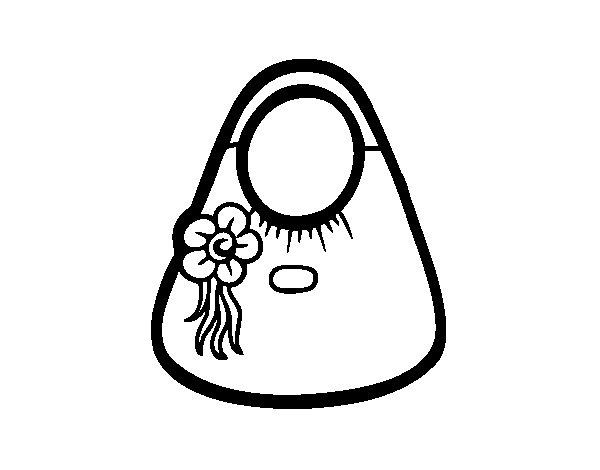 Disegno di Sacchetto di tote con fiore da Colorare