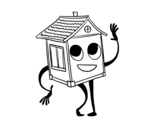 Disegno di Saluto casa da colorare