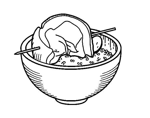 Disegno di Spiedo della carne con riso da Colorare