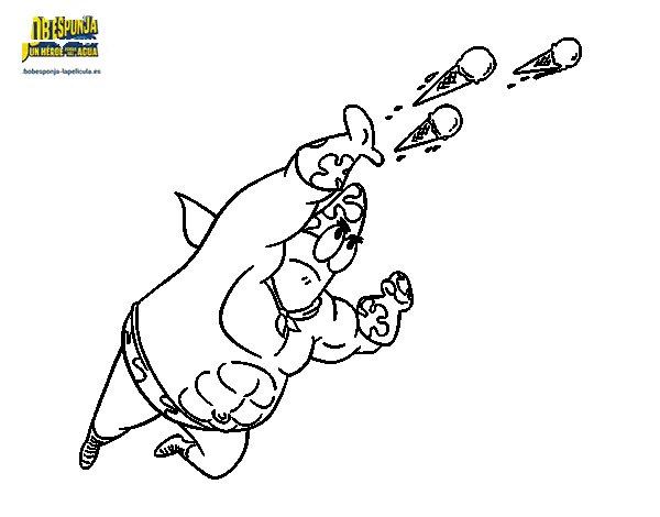 Disegno di SpongeBob - Supergenialone sparando da Colorare