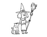 Disegno di Strega con il gatto di Halloween da colorare