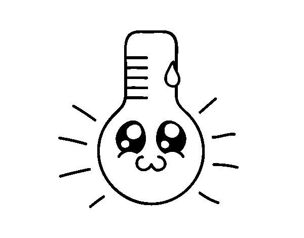 Disegno di termometro kawaii da colorare for Immagini disegni kawaii