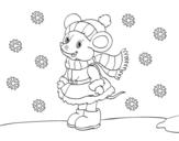 Disegno di Topolina riparata a Natale da colorare