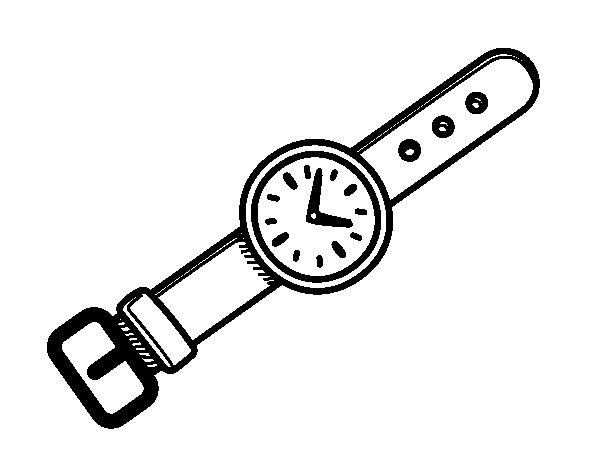 Disegno di un orologio da polso da colorare for Immagini orologi da polso